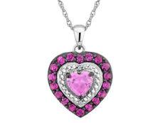 Creado Ruby & Zafiro Rosa Colgante de Corazón con Diamantes En Plata