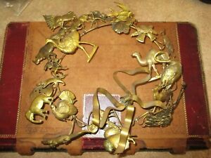Antique Dresden Wreath brass multi season Christmas Easter Halloween Art Swag