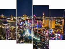 Large 4 Panel Canvas Picture Las Vegas Cityscape Blue Night City Wall Art Print
