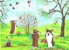 Print Of Painting Pembroke Welsh Tri-Color Corgi Ryta Easter Folk Rabbit Bunny