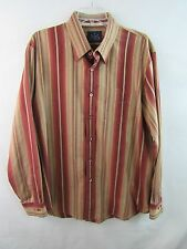 Indigo Palms Striped Button Front Shirt Multi-Color Maroon Beige Size XL