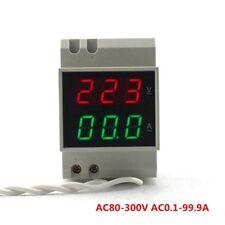 Ac80 300v 100a Din Rail Dual Led Digital Voltage Ampere Meter Volt Amp 110v 220v