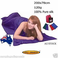 100% SINGLE PURE SILK Sleeping Bag Liner & COVER for Camping, travel SBL01