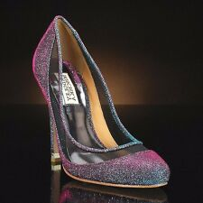 Badgley Mischka Myria evening wedding formal heels pump Gray/PLUM purple shoes