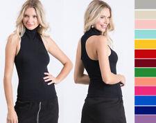 Women's Premium Seamless Basic Tank Top Mock Neck Stretchy Sleeveless Solid OS