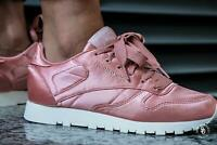 Womens Reebok Classics Ladies Smooth Satin Silk Upper Trainers All Sizes Pink