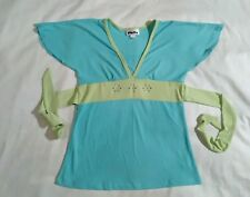 Blue aqua green blouse top philly  polyester spandex Rhinestone shirt back tie