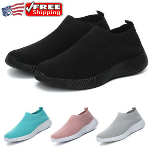 Womens Casual Sock Mesh Shoes Trainers Flat Slip On Comfy Pumps Sneakers Sizes