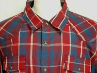 Levis Mens sz 2XL Red Blue Striped Plaid Long Sleeve Western Pearl Snap Shirt