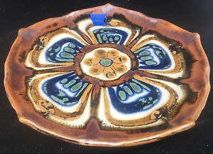 Dinner Plate El Palomar Ken Edwards Mexican Pottery Lotus #K Blue Green Brown