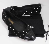 Chanel 36 5.5 M Black Suede Leather Black Patent Toe Cap Pearl CC Ballet Flats