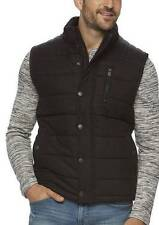 NWT $140-Mens Marc Anthony Black Quilted Heavy Puffer Wool Blend Winter Vest-2XL