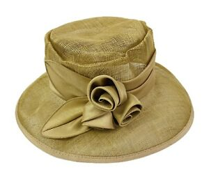 Ladies 100% Straw Hat Fancy Floral Shaped Trim British Home Stores