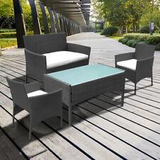 Gartenmöbel Balkon erweiterbares Gartenset Kissen Sitzgruppe Garnitur Schwarz