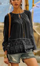 Geniale Tunika Bluse schwarz Gr. 48 Stickerei Hippie Boho 962553 Neu