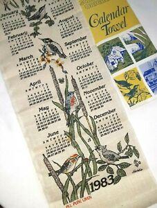 NEW VINTAGE 1983 CALENDAR COTTON DISH TOWEL NATURE BIRDS PRINT PACKAGED NEW