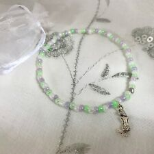 New Mermaid Charm Anklet ~ Purple ~ Stretch ~ Beach Seaside Theme, Ankle Chain
