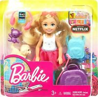 New Barbie Chelsea Blonde Travel  Doll with Puppy, Carrier and 5 + Accessories!