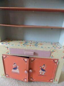 Vintage 1950's IDEAL Metal Doll House Furniture Cabinet Kitchen Cupboard