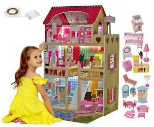 Gigante Casa Casetta delle Bambole in Legno 90cm Piscina, Luce Led e Mobili 18p