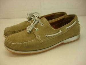 Men's 9 9.5 43 Ecco DIP Moc Boat Shoes Tan Suede Leather Handsewn Comfort Loafer