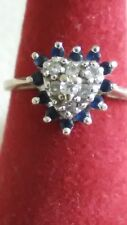 Vintage ODI FAMOR 14k White Gold Sapphire Diamond HEART Ring Size 4.5