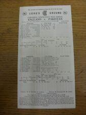 12/08/1982 Cricket Scorecard: England v Pakistan [At Lords] 5 Day Match (folded,