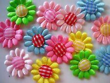 100 Daisy Satin Flower+Gingham Center Mix Set Applique/Craft/Trim/Fabric/Bow L52