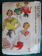 McCalls Vintage 1950s Sewing Pattern #1621 Smocked Peasant Blouse Uncut Small