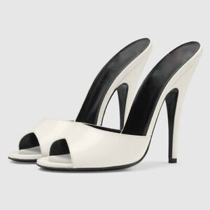 Ladies High Stiletto Heels Peep Toe Mules Slippers Fashion Party Shoes Plus Size