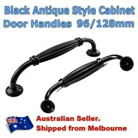 Black Antique Pull Handles For Kitchen Cabinet Cupboard Doors Drawer 96/128mm AU