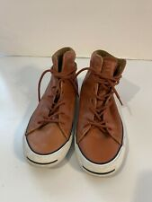 JACK PURCELL CONVERSE GENUINE LEATHER BROWN UNISEX HIGH TOP SNEAKER SHOE 8.5
