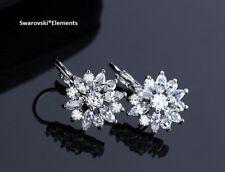 bijou boucles d'oreilles swarovski Elements fleur pétales zirconium plaqué or
