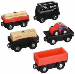 Orbrium Wooden Train Car Wooden Cargo Railway Engine Set 5pcs Thomas Chuggington