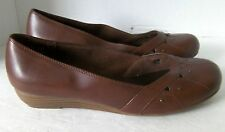 Lower East Side Brown Studded Round Toe Low 1.5 Inch Wedge Slide Womens US 9.5 M