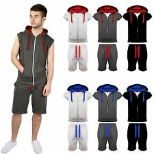 New Mens Activewear Gilet Shorts Tracksuit Hooded Jogging Bottoms GYM Suit S-XXL