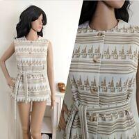 Vintage 70s Alexon Belted Geometric Stripe Blouse Top Tunic Waistcoat 8 10 36 38