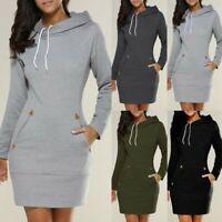 S-5XL Damen Hoodies Kapuze Kapuzenpullover Casual Shirtkleid Sweatshirt Kleid