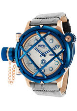 New Mens Invicta 16178 Russian Diver Swiss Mechanical Silver Dial Leather Watch