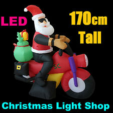 1.7m Tall SANTA MOTORBIKE Bike Outdoor Christmas Air Power Inflatable LED Lights