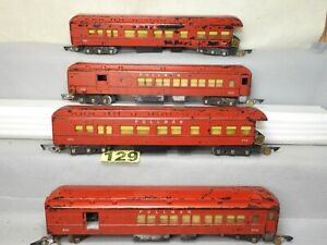 FOUR AMERICAN FLYER S SCALE HEAVYWEIGHT RED PASSENGER CARS REPAIR OR RESTORE