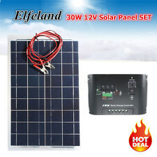 Elfeland High Effciency 30W 12V Flexible Semi Solar Panel + 12V/24V Controller