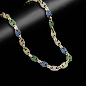 """Multicolor Elegant 14K Yellow Gold Over Real Silver """"Zephyr Puff"""" Custom Chain"""