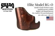 SHADO Leather Holster USA Elite Model BG-0 AMBI Pocket Holster Brown S&W