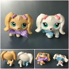 LITTLEST PET SHOP LOT 2 MALTESE DOGS BLUE EYES WHITE #65 #175 TAN BOWS MAGNETS
