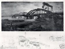 Umbau Floridabrücke Wien Kunstdruck von 1941 Michalek Brücke Brückenbau