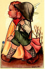 "Vintage Netherlands Postcard Young Boy & an Angel Army Outfit 3.5"" x 5.5"""