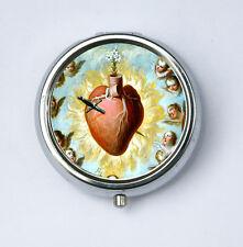 Sacred Heart Pill Case holder pillbox box religious catholic angels
