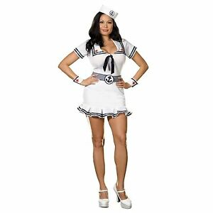 CRUISE CUTIE ADULT PLUS WOMENS COSTUME Sexy Sailor Anchor Knit Dress Halloween