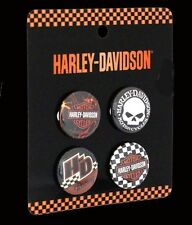 HARLEY DAVIDSON 4 Pack Pin Back Buttons WITH WILLIE G HARLEY PIN
